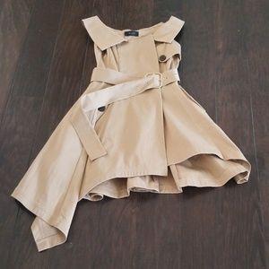 Sleeveless Asymmetrical Khaki Belted Dress